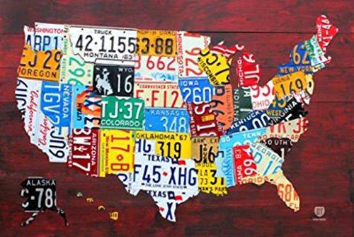 (License Plate Map of the United States Poster 36 x 24in)