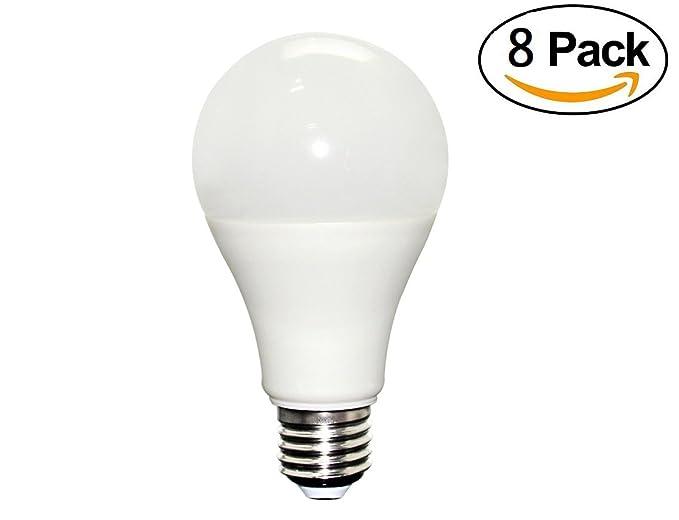 masonaic 8 paquetes de LED Bombilla A19 12 W base media (E27), luz