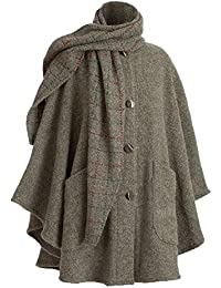 Women's Clare Cape - Wool Alpaca Button Down Jacket with Scarf