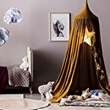 Elegant Baby Boys Girls Mosquito Net Bed Canopy Curtains Set Full Queen King(Cotton Gold Yellow)
