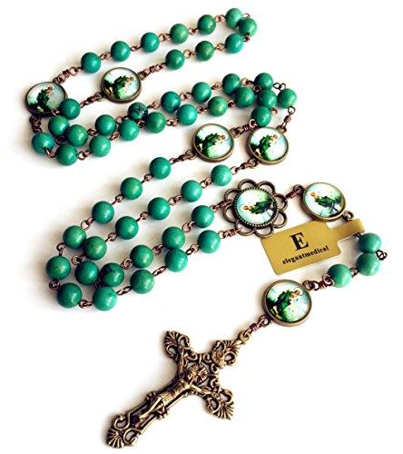 - elegantmedical Handmade Vintage Turquoise Beads Catholic Jesus Christ Rosary Bronze Cross Necklace Box