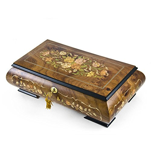 Handcrafted 30 Note Italian Double Level Floral Musical Jewelry Box - Many Songs Available - Lara's Theme