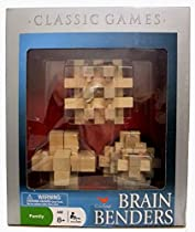 Classic Games Brain Benders Set of Three Wooden 3D Puzzles