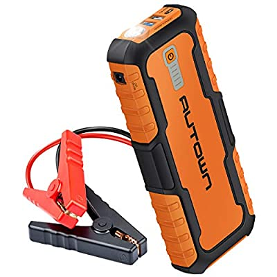 AUTOWN 21000mAh 1000A Peak UltraSafe Lithium Car Jump Starter (Up to 8.0L Gas, 6.5L Diesel Engine) - 12V Auto Battery Jumper/Booster, Portable Power Pack/Bank / Charger with QC 3.0 & Jumper Cable