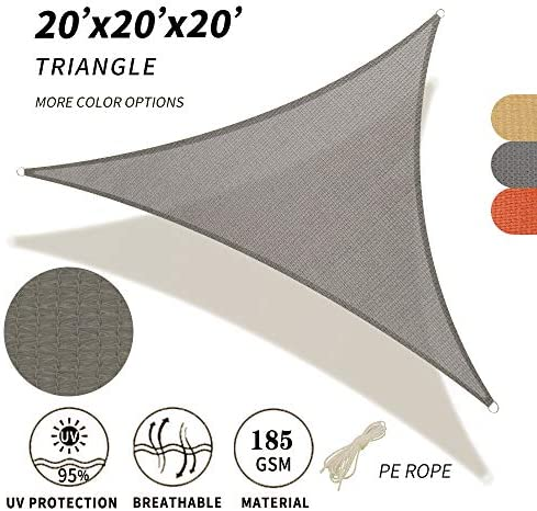 SHADE SPRING 20 x20 x20 Gray Triangle Sun Shade Sail UV Block Canopy 185GSM Awning for Patio Garden Yard
