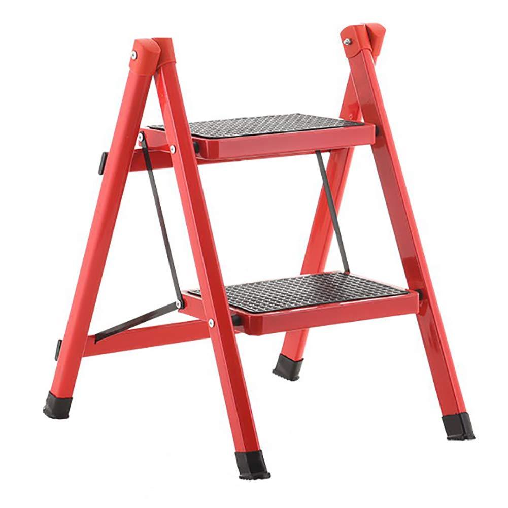 LXF Step stool Step Stool Compact Anti Slip Mat Tread Heavy Duty 2-Step Ladder Folding Kitchen Ladder Can Bear 150 Kg