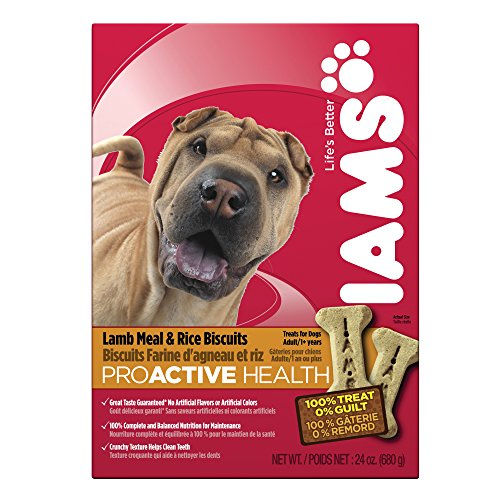 IAMS PROACTIVE HEALTH Adult Biscuits Lamb Meal and Rice 24 Ounces (Pack of 6) by Iams