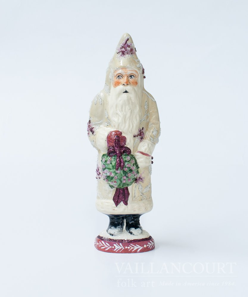 Santa with Peony Coat by Vaillancourt Folk Art
