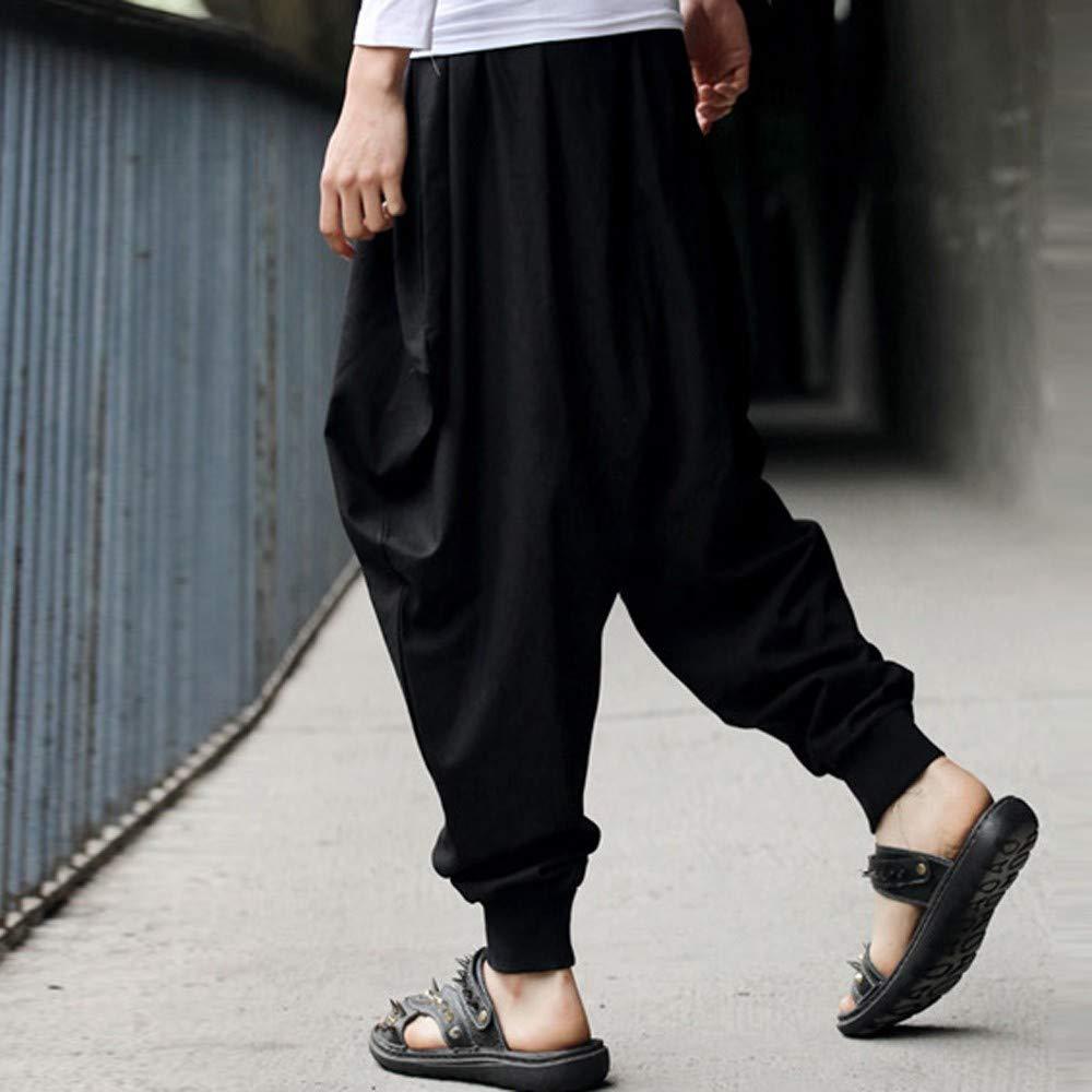 Alangbudu Mens Cotton Linen Plus Size Stretchy Waist Casual Ankle Length Pants