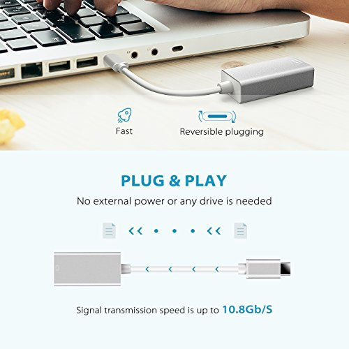 VicTsing Type C (Thunderbolt 3) to Mini DisplayPort Adapter Converter Cable, USB C to Mini DP, Support 4K Resolution, Video Audio Output, for Macbook2017, MacBook Pro, Chrome Book by VicTsing (Image #1)