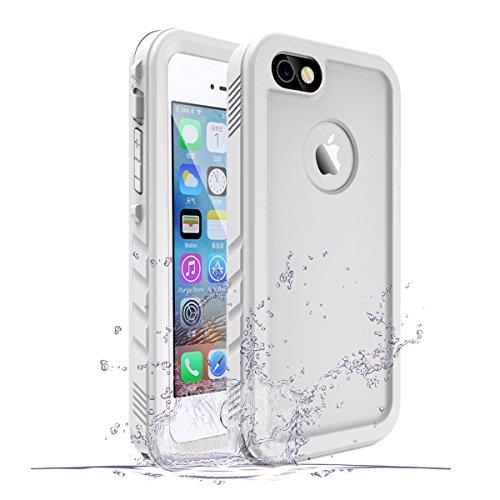 資金保護する人間SPORTLINK iPhone SE/iPhone5S/iPhone5 対応 防水ケース アイフォン SE/5S/5 適応 IP68規格 完全防水 耐衝撃 防塵 防雪 保護ケース 指紋認証対応 軽量 水泳 お風呂 防水ケース (SE/5/5S ホワイト)