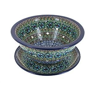 Blue Rose Polish Pottery Mardi Gras Berry Bowl & Plate