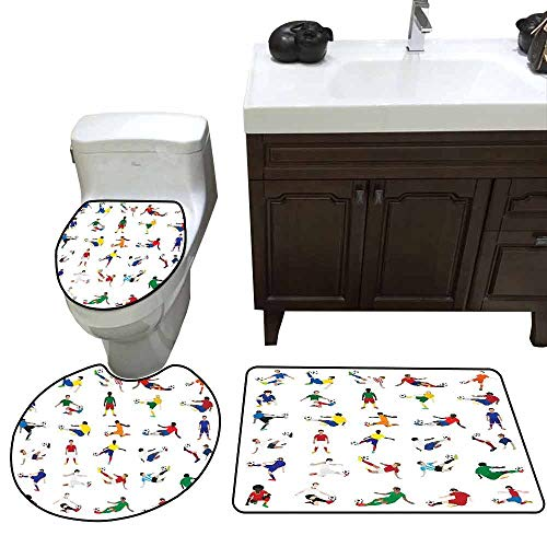 3 Piece Toilet mat Set Sports Collection of Soccer Players League Pastime Practicing Different Poses Training Pattern Rug Set Multicolor ()