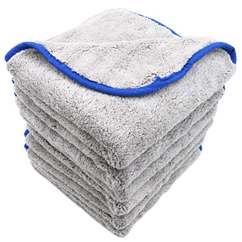 AULLY PARK 800gsm Ultra Thick Plush Microfiber Car Cleaning Towels Buffing Cloths Super Absorbent Drying Auto Datailing Towel Gray (16 in. x 16 in, Pack of 6)