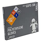Safety Zone GDPE-SM High Density Clear Polyethylene PE Disposable Gloves, Small(Box of 100)