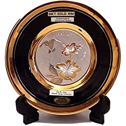The Art of CHOKIN Fine Porcelain Collectible Plate 24KT Gold Rims (6.5 inches) - HAWAII Hummingbird w/Hibiscus Flower Design, Black Color