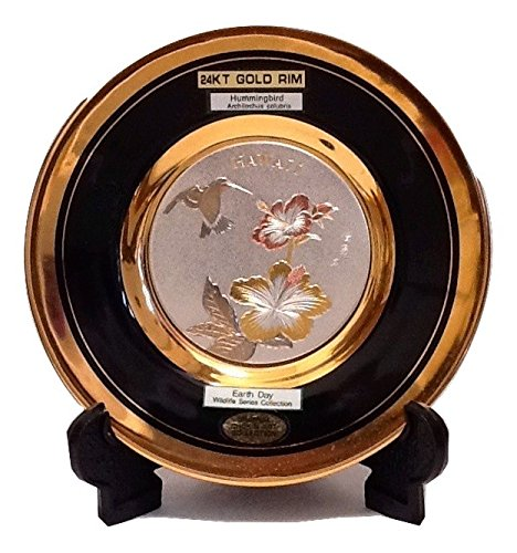 The Art of CHOKIN Fine Porcelain Collectible Plate 24KT Gold Rims (6.5 inches) - HAWAII Hummingbird w/Hibiscus Flower Design, Black - Porcelain Hummingbird Plate