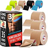 Kinesiology Tape * Comes with 35 Video Guides * 3 Uncut Beige Rolls * Waterproof Sports Tape * Kinetic Tape