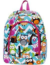 White & Light Aqua Chevron Owl Print School Backpack Bookbag