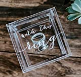 Clear Glass Look Acrylic Engagement Ring Bearer Box Holder, Custom Modern Wedding Rings Box, Geometric Minimalist or Rustic Ring Holder