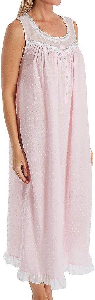 Eileen West Cotton Swiss Dot Woven Sleeveless Ballet Nightgown