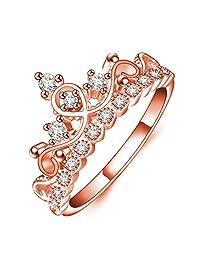 Haoze Clear Dazzling Princess Crown Tiara Design Cubic Zirconia CZ Diamond Ring Wedding Engagement Band
