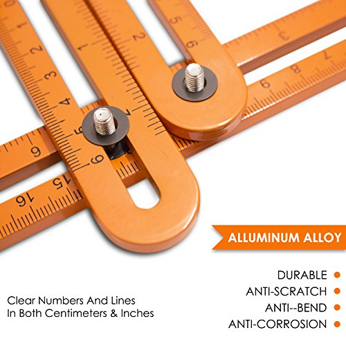 Universal Angle Template Measuring Tool Ruler, Bright Visibility ORANGE Heavy Duty Premium All Aluminum Construction, Easy Adjustable Anglerizer Template Tool for Masonry Builders Handymen Carpenters by UNI-ANGLE (Image #2)
