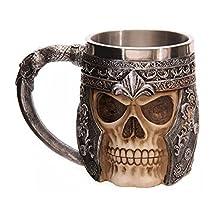 SAIBANG Stainless Steel 301-400ml Drink Beer Cup Teacup, Creative 3D Skull Design Coffee Mug