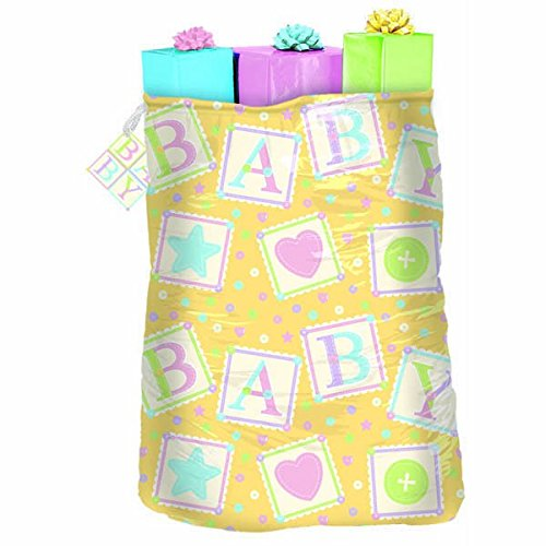 """Amscan Adorable Cute As Button Giant Gift Sack Party Supply (Pack of 1), Multicolor, 44"""" x 36"""""""
