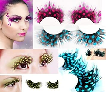 11a0fdf3ee4 Amazon.com : Hitece@ New 3 pairs Deluxe Party Feather False Eyelashes Eye  Lashes For Halloween Party : Combination Eye Liners And Shadows : Beauty