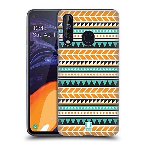 Head Case Designs Orange and Green Aztec Patterns S2 Hard Back Case Compatible for Samsung Galaxy A60 (2019) (Samsung Galaxy S2 Case Aztec)