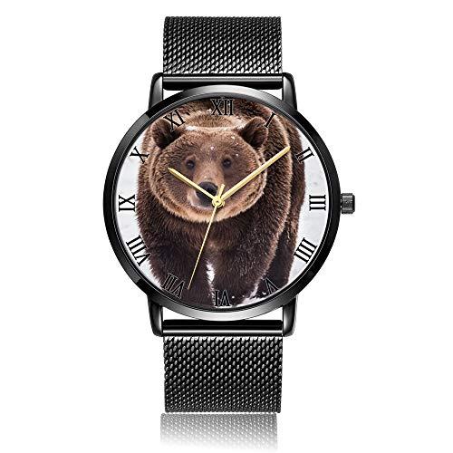 Whiterbunny Customized Grizzly Bear Walking Wrist Watch Unisex Analog Quartz Fashion Black Steel Bracelet Wristwatch for Women and Men