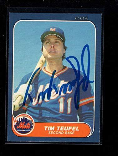 - 1986 Fleer #u-110 Tim Teufel Authentic Card Autograph Signature Ax6190 - Baseball Slabbed Autographed Cards