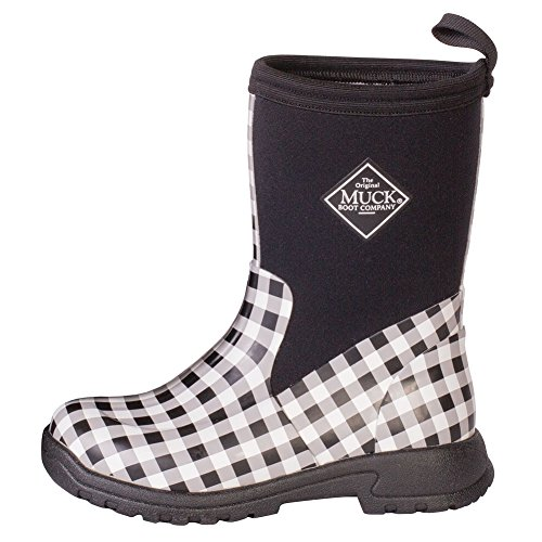 Muck Boot Girl's Breezy Mid Casual Boots, Black Gingham Rubber, 3 Little Kid M