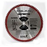 Toolman Circular Saw Blade Universal Fit 12'' x1'' 80T Carbide Tip Table Miter Cutting For Wood works with DeWalt Makita Ryobi