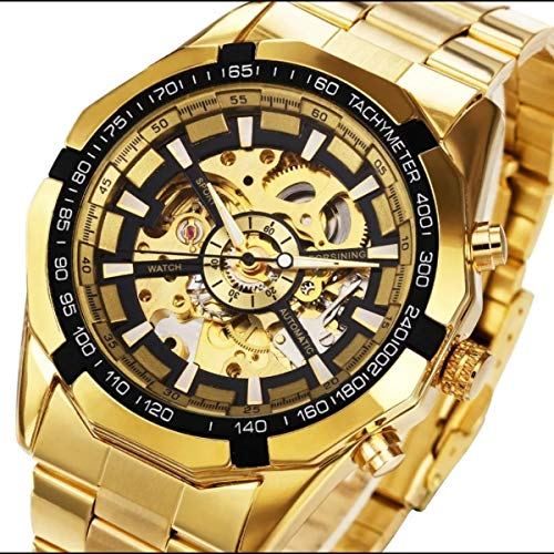 Fanmis Mens Skeleton Automatic Golden Watch with Stainless Steel Bracelet Watch