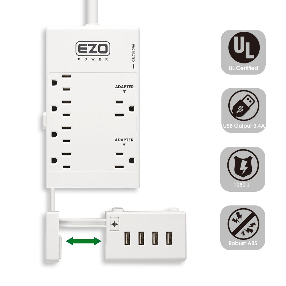[UL Certified] Charging Desktop Work Station EZOPower 6 Outlet Power Strip Surge Protector + Extendable USB Charger 4 Port with Desk Mount Clamp by EZOPower (Image #1)