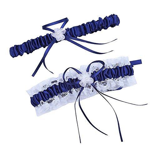 Women Wedding Bridal Legs Garter Set Bridal Garters Lace Belt with Toss Away JW20 (5-Navy Blue)