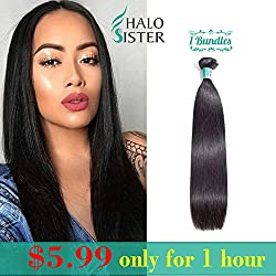 Straight Hair 8A Unprocessed Virgin 10 Inch Brazilian Hair Weave Bundles Natural Black Color Human Hair 95-100g/ 1 Bundles for Women (50g)