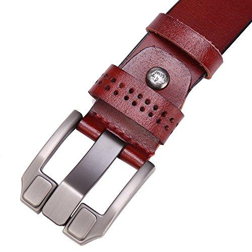 BISON DENIM Classic Belts For Men - Mens Genuine Leather Belt for Dress & Jeans Brown 125cm by BISON DENIM (Image #5)