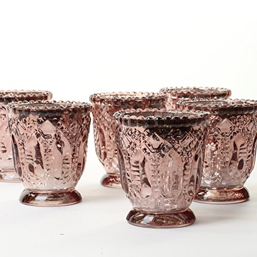 Koyal Wholesale Vintage Glass Candle Holder (Pack of 6), 3 x 2.75 (Antique Rose Gold)