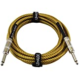 Kyпить GLS Audio 15 Foot Guitar Instrument Cable - 1/4 Inch TS to 1/4 Inch TS 15-FT Brown Yellow Tweed Cloth Jacket - 15 Feet Pro Cord 15' Phono 6.3mm - SINGLE на Amazon.com