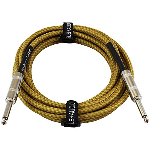 GLS Audio 15 Foot Guitar Instrument Cable - 1/4 Inch TS to 1/4 Inch TS 15-FT Brown Yellow Tweed Cloth Jacket - 15 Feet Pro Cord 15' Phono 6.3mm - Single