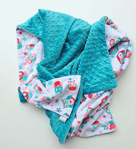 Adult Minky Owl Minky Blanket, Dorm Room Blanket, Adult Size Throw Blanket 50 x 60