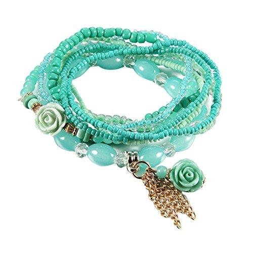 Wide Resin Bangle - AUWU Bohemian Vintage Women Resin Beads Bangle Girl Ethnic Style Colorful Tassel Pendant Bracelet Lady Retro Wristband