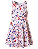 Star Stripe Dress for Girl USA Flag Summer Unicorn Heart Sleeveless Independence