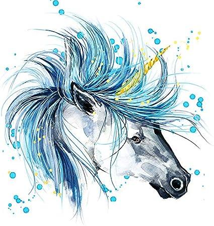 IWINO Acuarela Moderna Unicornio Divertido Pintura de Pared Caballo Pintado a Mano Impresión en Lienzo Cuadro de Pared para Sala de Estar Decoración para el hogar Regalo 40X40Cm Sin Marco Pc2008