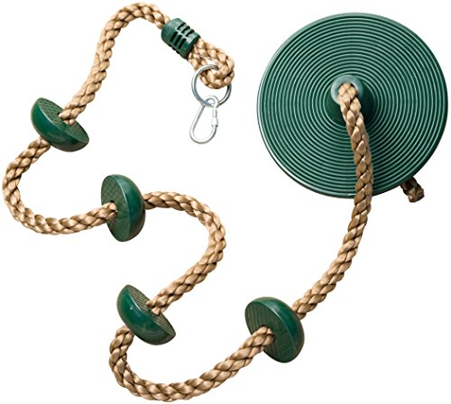 Jungle Gym Kingdom Climbing Rope with Platforms and Disc Swing Seat Green - Playground Accessories (Best Rope For Rope Swing)