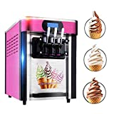110V Commercial Soft Ice Cream Making Machine with 3 Flavors Desktop Small Automatic Drum Ice Cream Machine Fast Refrigeration Beautiful Pink Appearance,3-7 Days Delivery