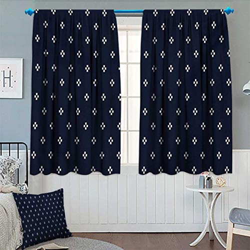 Indigo Patterned Drape for Glass Door Cross Plus Like Square Shapes on Dark Backdrop Navy Inspired Image Print Waterproof Window Curtain 63
